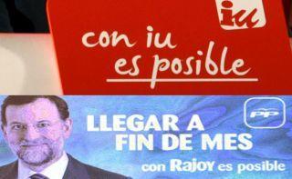 Lema de IU en las elecciones autonómicas de mayo y, abajo, la campaña presentada ayer por el PP.