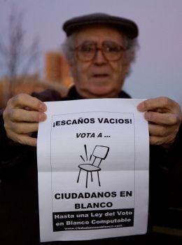 Fedro Galindo, de Ciudadanos en Blanco, partido que lucha por una ley de escaños vacíos.