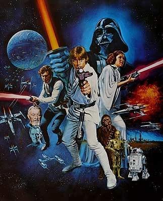 Detalle del poster de la película star wars episodio iv una nueva