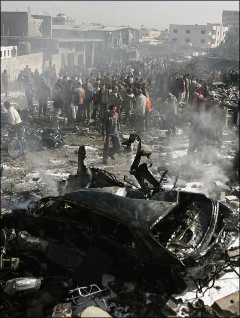 Restos del bombardeo.