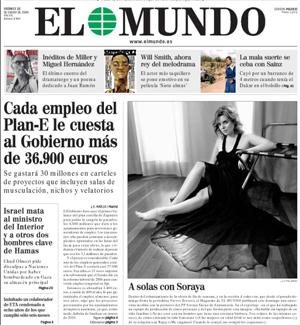 Soraya Sáez de Santamaría, en la portada de 'El Mundo'.