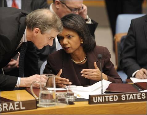 La secretaria de Estado de EEUU Condoleezza Rice en la reunión de Naciones Unidas sobre la situación en Gaza.. TIMOTHY A. CLARY / AFP