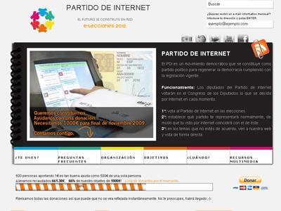 'Pantallazo' de la página web del partido.