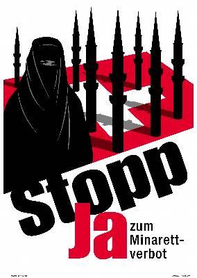 El polémico cartel utilizado por el partido de la extrema derecha en Suiza como parte de su campaña antes del referendo llevado a cabo en el país. EFE/Archivo