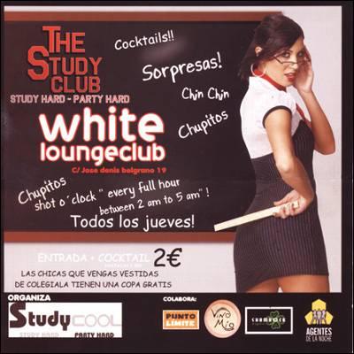 Este es el cartel publicitario que ha hecho reaccionar al Instituto Andaluz de la Mujer. Anuncia bebidas gratis para las jóvenes que acudan vestidas de colegialas. Imagen: WHITE LOUNGE BAR