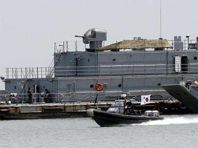 Un barco militar surcoreano en el mar Amarillo. AFP