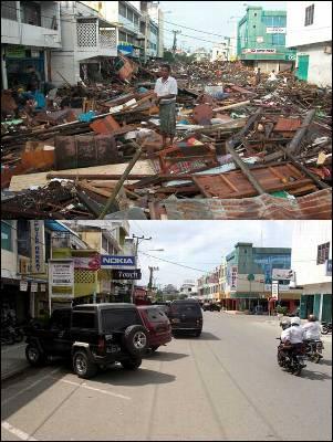 Combo fotográfico de varios habitantes tras el paso del maremoto en la zona de Peunayong, Banda Aceh (Indonesia) el 26 de diciembre de 2004 y la misma zona (abajo) vista en diciembre de 2009.