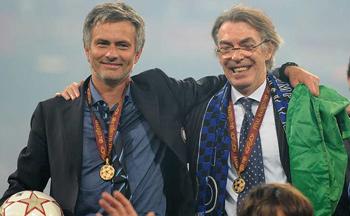 Moratti y Mourinho celebran la Champions League