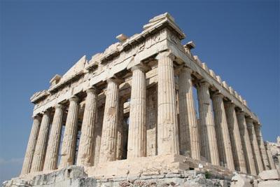 Fachada del Partenón en la Acrópolis de Atenas.