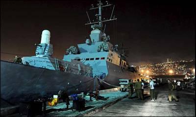 Marines israelíes se preparan para partir desde la base de Haifa hacia el Mar Mediterráneo con la misión de rastrear e interceptar la Flotilla de la Libertad.EFE