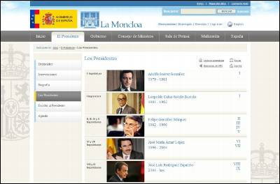 El nuevo portal de la Moncloa sólo figuran las biografías de los cinco jefes del Ejecutivo que han gobernado España desde la sanción de la Carta Magna, en 1978. También se incorporan los discursos de investidura.