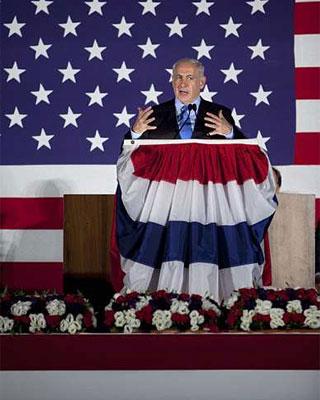 El primer ministro israelí, Benjamin Netanyahu, pronuncia un discurso durante una ceremonia para celebrar el 4 de Julio estadounidense. -  EFE