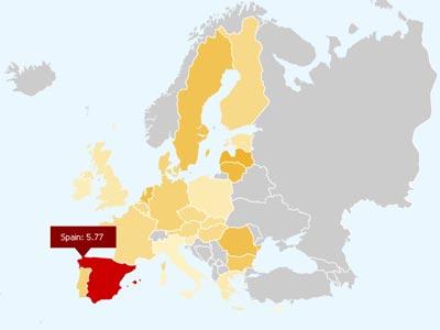Netindex muestra las velocidades media de los ADSL en los países europeos.