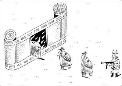 Una caricatura de la web iraní que se mofa del Holocausto.