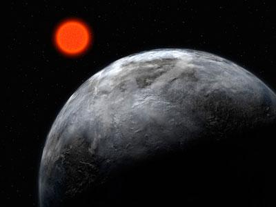 Ilustración de Gliese 581c, otro de los planetas que orbita la misma estrella.ESO