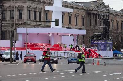 El escenario del encuentro en la plaza de Colón de Madrid.
