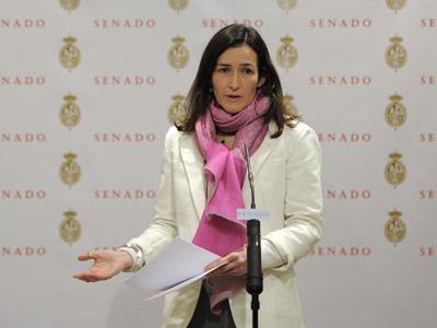 La ministra de Cultura Ángeles González-Sinde explicó el contenido de la enmienda en el Senado.DANI POZO