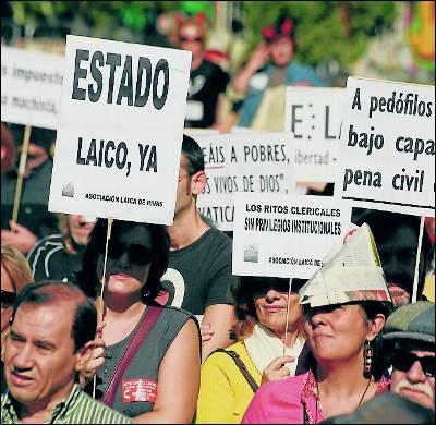 Manifestación por un estado laico en Madrid.