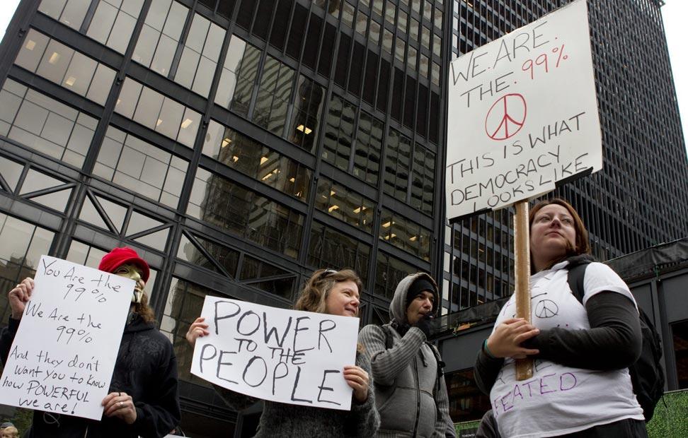 Protestas en la zona financiera de Toronto, Cánada.-