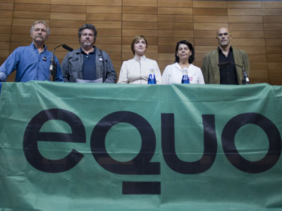 Bové, López de Uralde, Montiel, Sabanés y Romeva, ayer, en Madrid. ángel navarrete