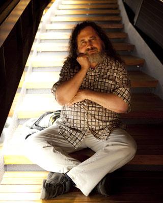 Richard Stallman, el s�bado, en Barcelona. -M. A. Torres