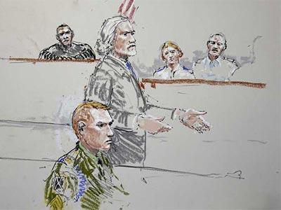 Boceto del juicio a Calvin Gibbs - AP