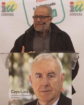 Julio Anguita en el mitin que ha ofrecido en Córdoba.