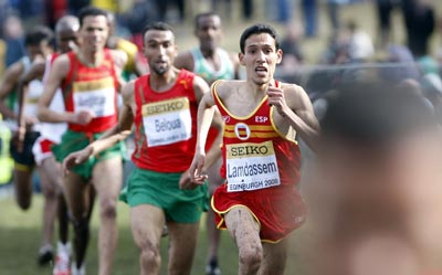 Ayad Lamdassem, en los Mundiales de cross de Edimburgo.-