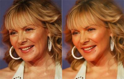 La actriz Kim Cattrall antes y después del retoque.