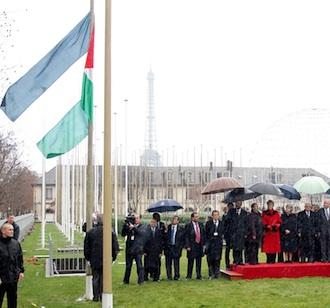 La bandera palestina fue izada esta mañana en la sede de la Unesco en París. Reuters