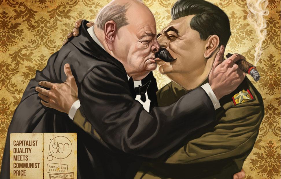 Bastantes meses antes del jaleo benettiano, unos seis para ser más exactos, allá en la primavera pasada, una marca de leche lituana ya tuvo la idea de liar a mandatarios internacionales y mostrarlos comiéndose sus respectivas bocas. Si bien la publicidad láctea lituana optaba por gerifaltes muertos (Churchill y Stalin) y tiraba de un eslogan que merecería un lugar de honor en el imaginario intelectual de parte de la izquierda española: 'Calidad capitalista con precio comunista'. Me encanta.