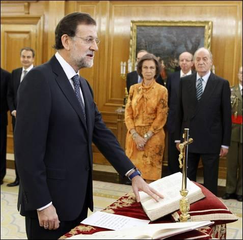 Mariano Rajoy 'jurando'