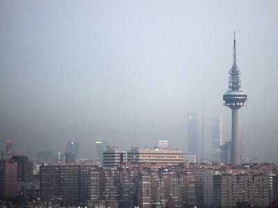 La boina de contaminación sobre Madrid, el pasado día 9.