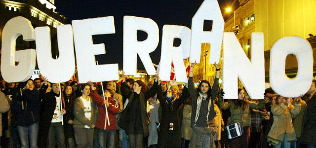 Manifestación en contra de la intervención española en Irak en febrero de 2003 en Madrid. afp