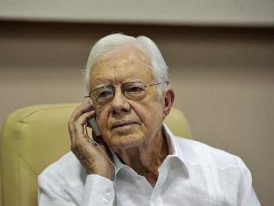 El ex presidente de EEUU, Jimmy Carter, hoy en Cuba.-