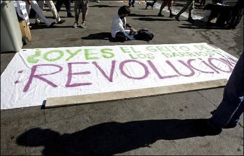 Pancarta de uno de los que acamparon en el centro de Madrid.