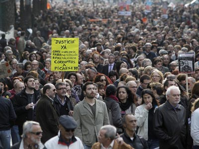 Miles de personas se manifestaron el pasado 26 de marzo en Valencia contra la corrupción. Juan navarro