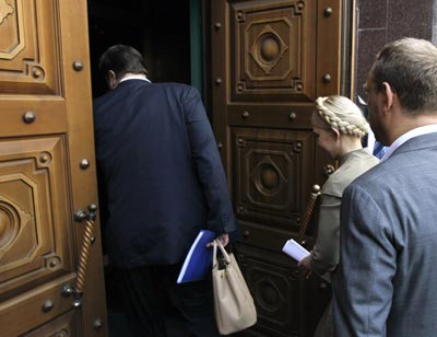 La ex primera ministra ayer en el juzgado. -