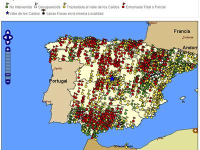 Mapa de las fosas publicado en la web www.memoriahistorica.gob.es con su correspondiente leyenda.