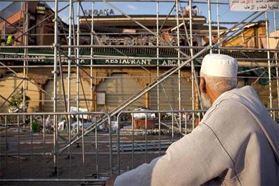 Estado de la cafetería Argana donde se produjo el atentado. -