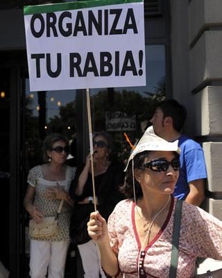 Una manifestante del 19-J, en las calles de Madrid. d. pozo
