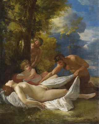 'Ninfa y sátiros', pintado en 1627 por Nicolas Poussin. London, The National Gallery.