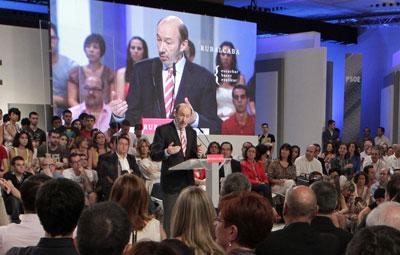 Alfredo Pérez Rubalcaba durante su primer discurso oficial como candidato.- EFE