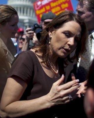 Bachmann, en una manifestación del Tea Party.