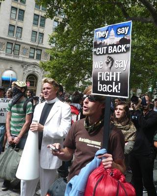 Manifestantes, hoy en Wall Street.-