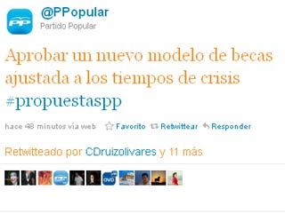 Captura de la cuenta en Twitter del PP.