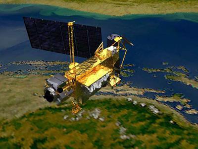 Simulación de la caída del UARS en la Tierra.