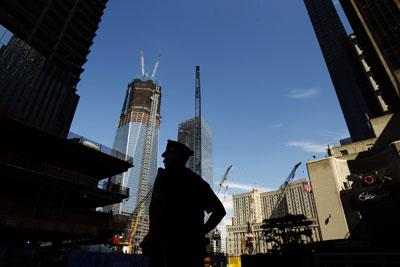 Las obras del nuevo World Trade Center, ayer. -