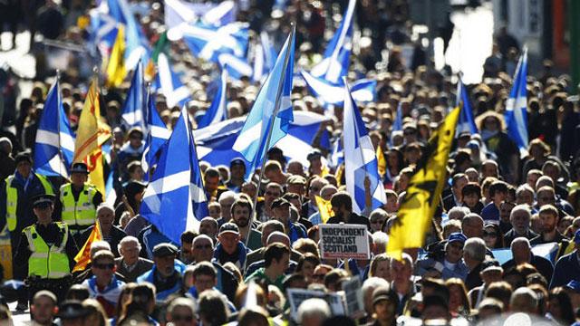 Manifestación independentista en Edimburgo.