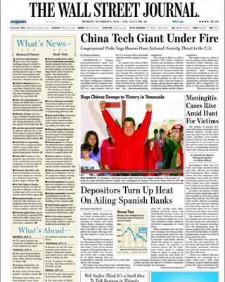 Portada de 'The Wall Street Jornal' con la información sobre las preferentes (debajo de la foto de Chávez).
